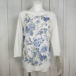 Chaps White Blue Floral Thin Knit Cotton Sweater